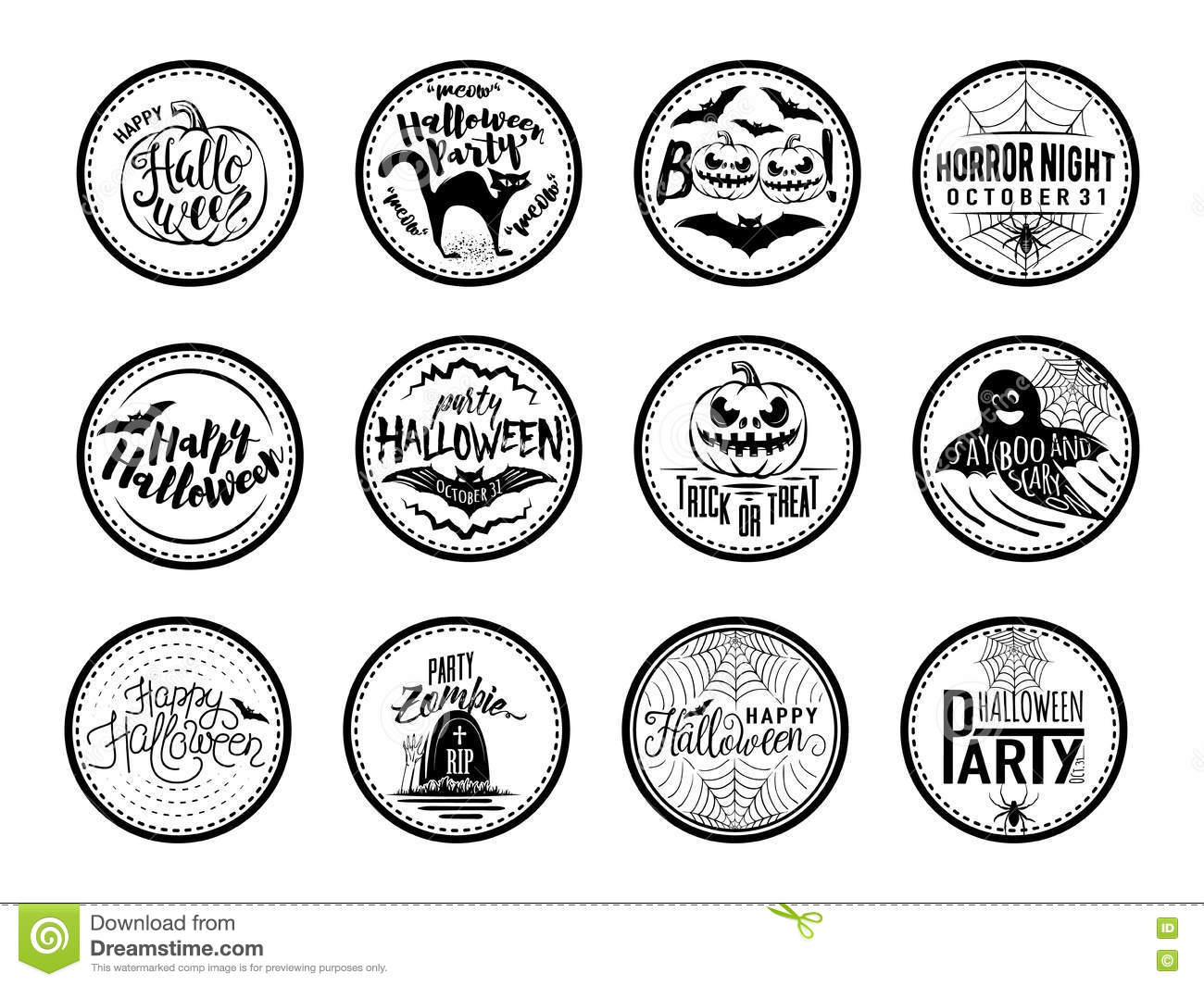 vector illustration of halloween badges and design elements with