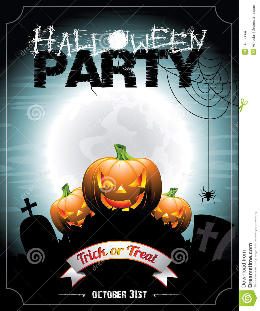 Vector illustration on a Halloween Party theme With pumkins.