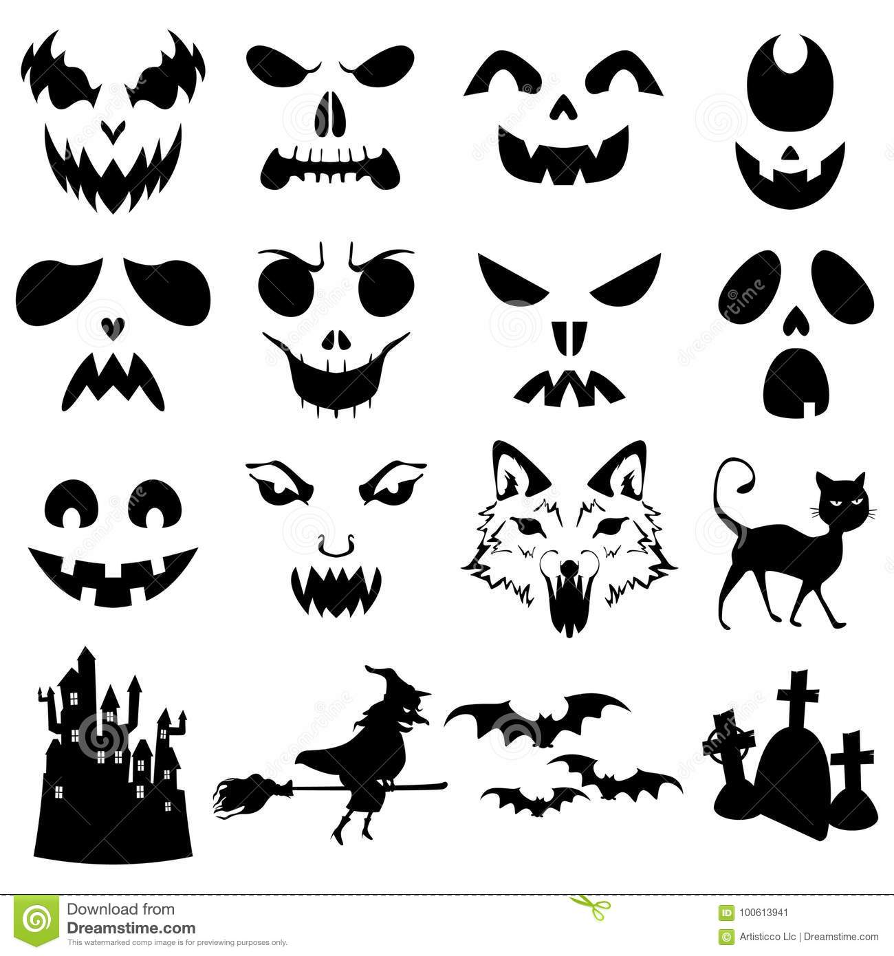 Halloween Pumpkins Carved Silhouettes Template Stock Vector Illustration Of Drawing Sticker 100613941