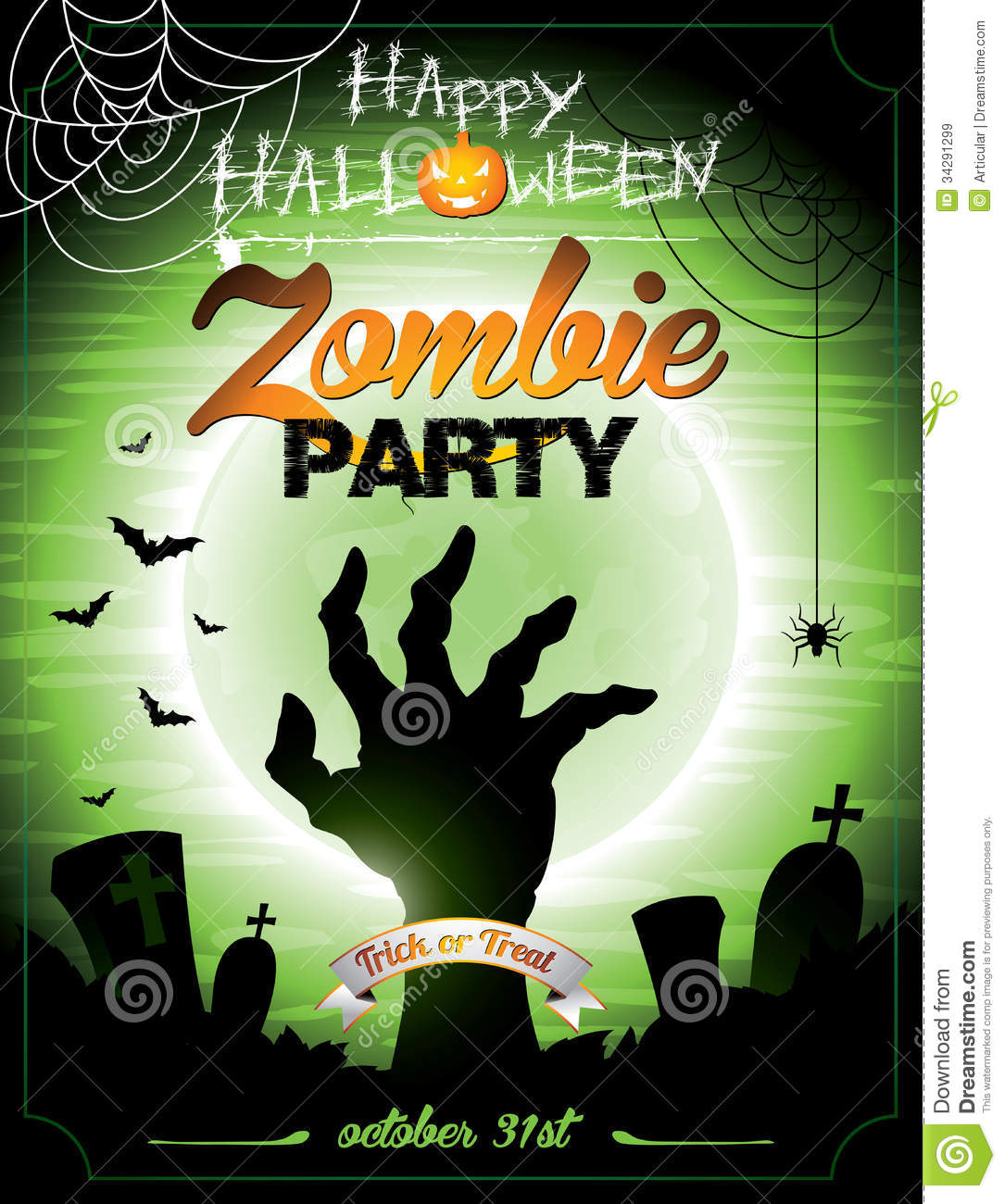 vector illustration on a halloween zombie party th royalty