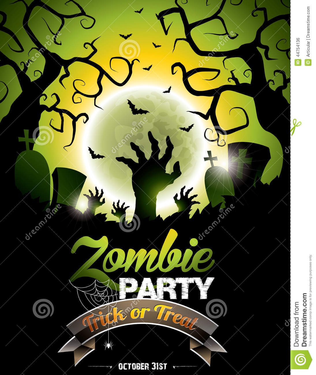Vector Illustration On A Halloween Zombie Party Theme ...