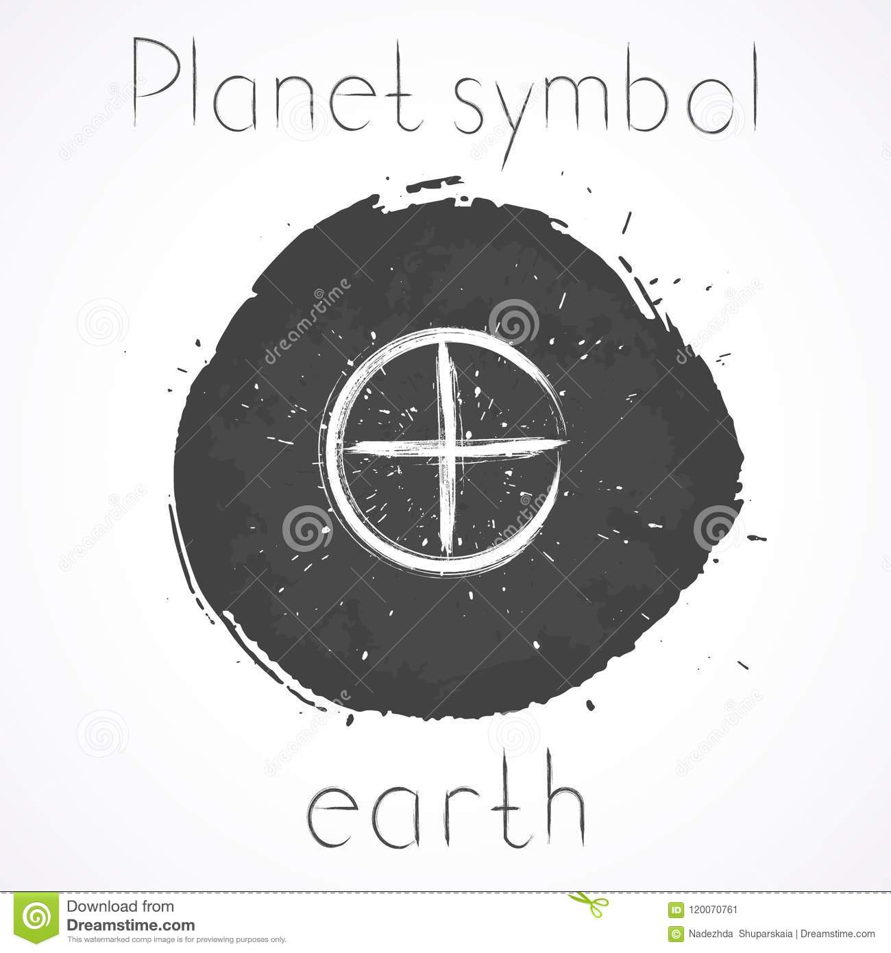 Vector Illustration With Hand Drawn Astrological Planet Symbol Earth