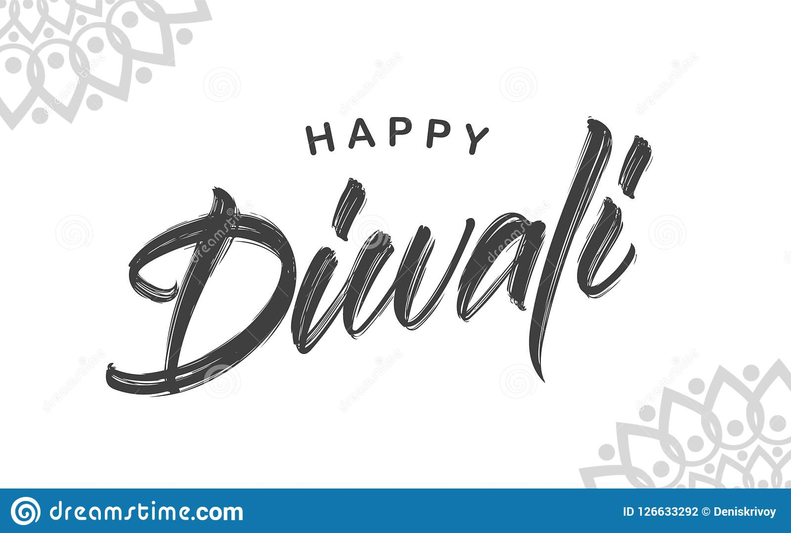 Hand drawn brush type lettering of happy diwali on white background