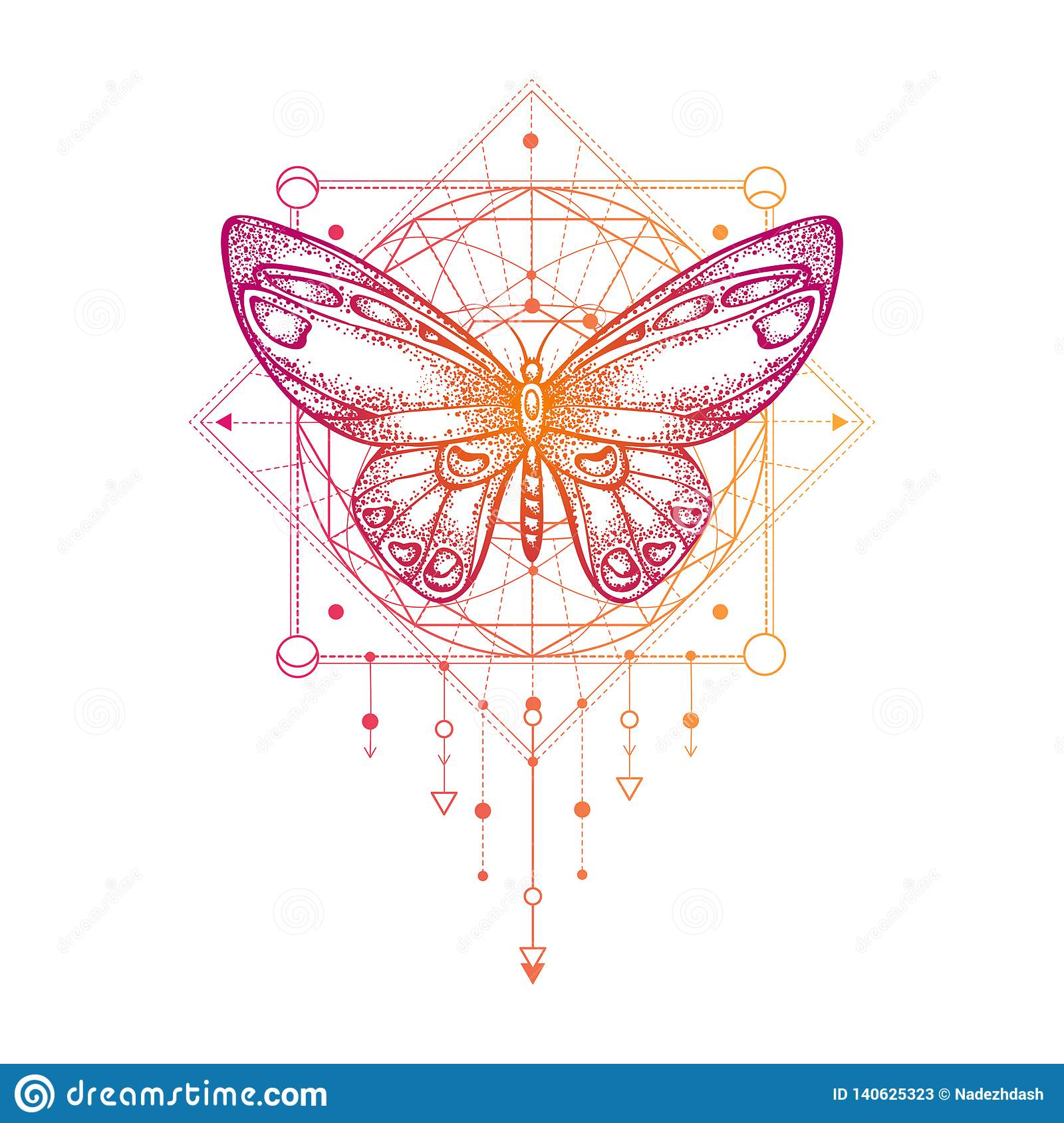 Vector illustration with hand drawn butterfly and Sacred geometric symbol on white background. Abstract mystic sign