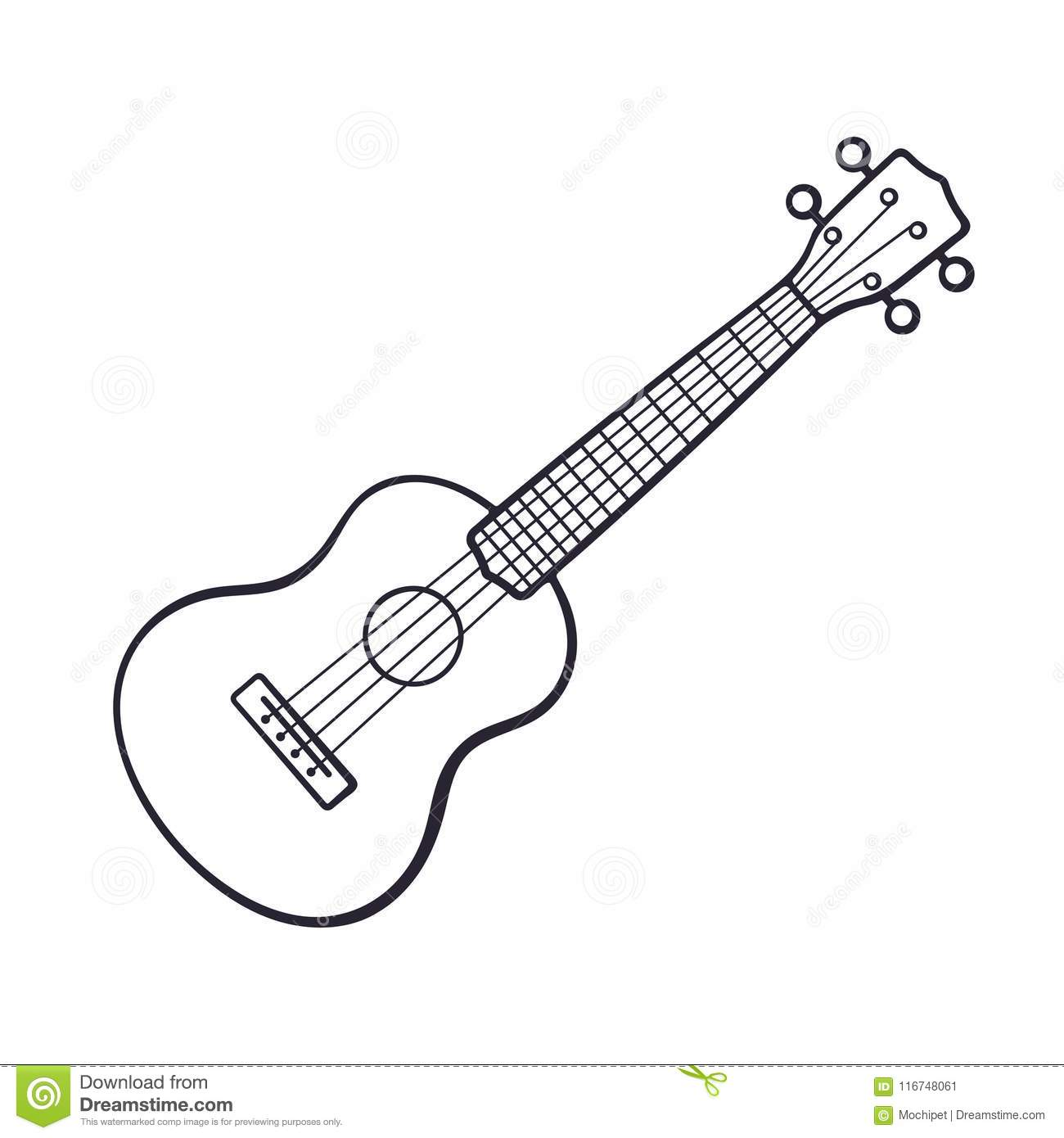 Doodle Of Small Classical Guitar Stock Vector - Illustration