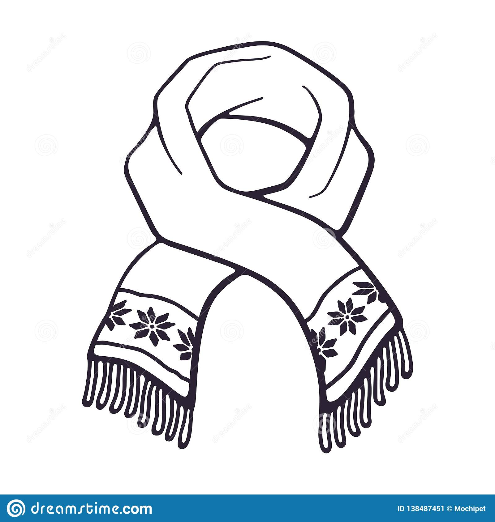 Vector Illustration Hand Drawn Doodle Of Winter Scarf With Snowflake Pattern Stock Vector Illustration Of Knitted Christmas 138487451