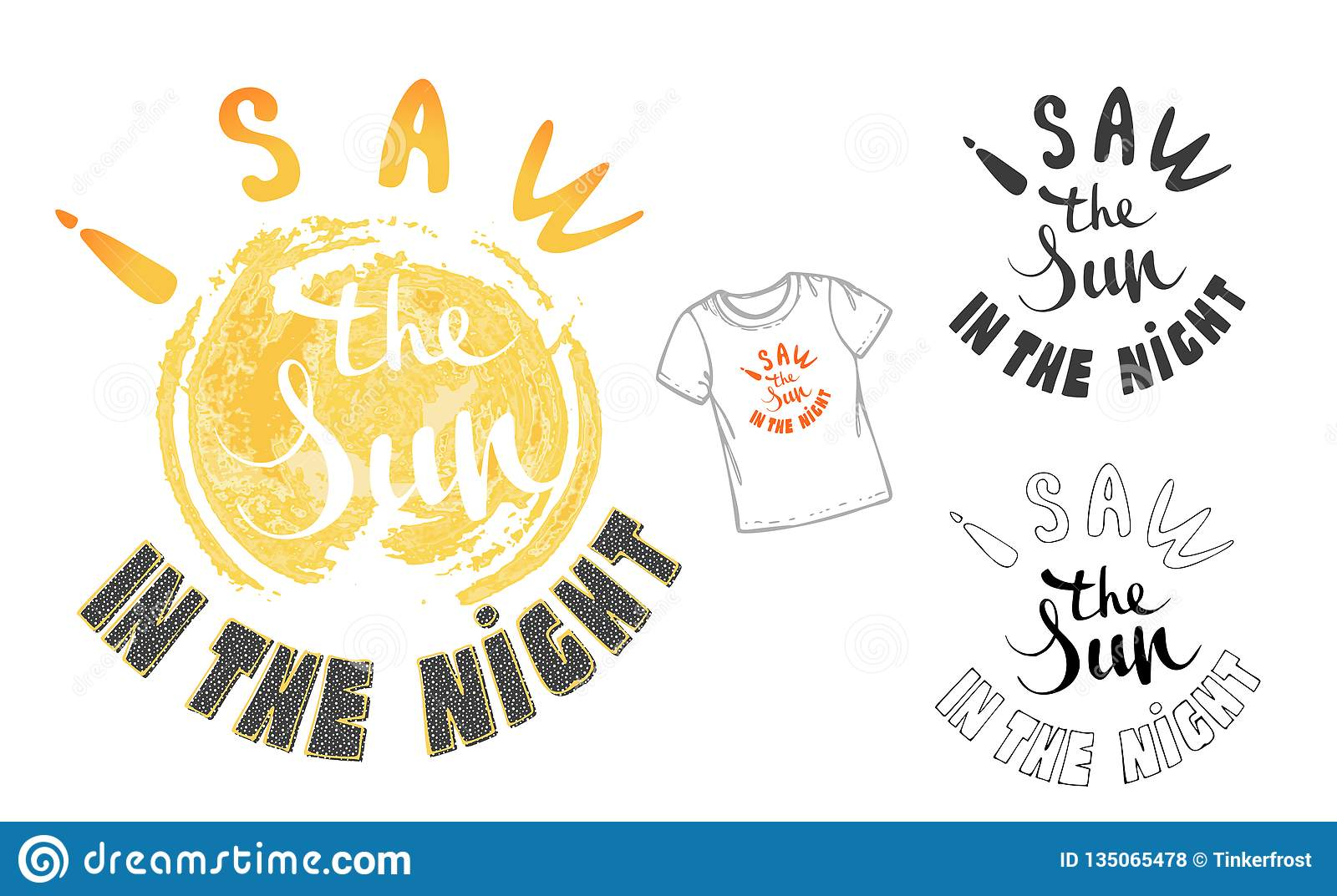 Vector illustration: Hand drawn lettering composition of Hello Summer with doodle sun. Handwritten calligraphy design