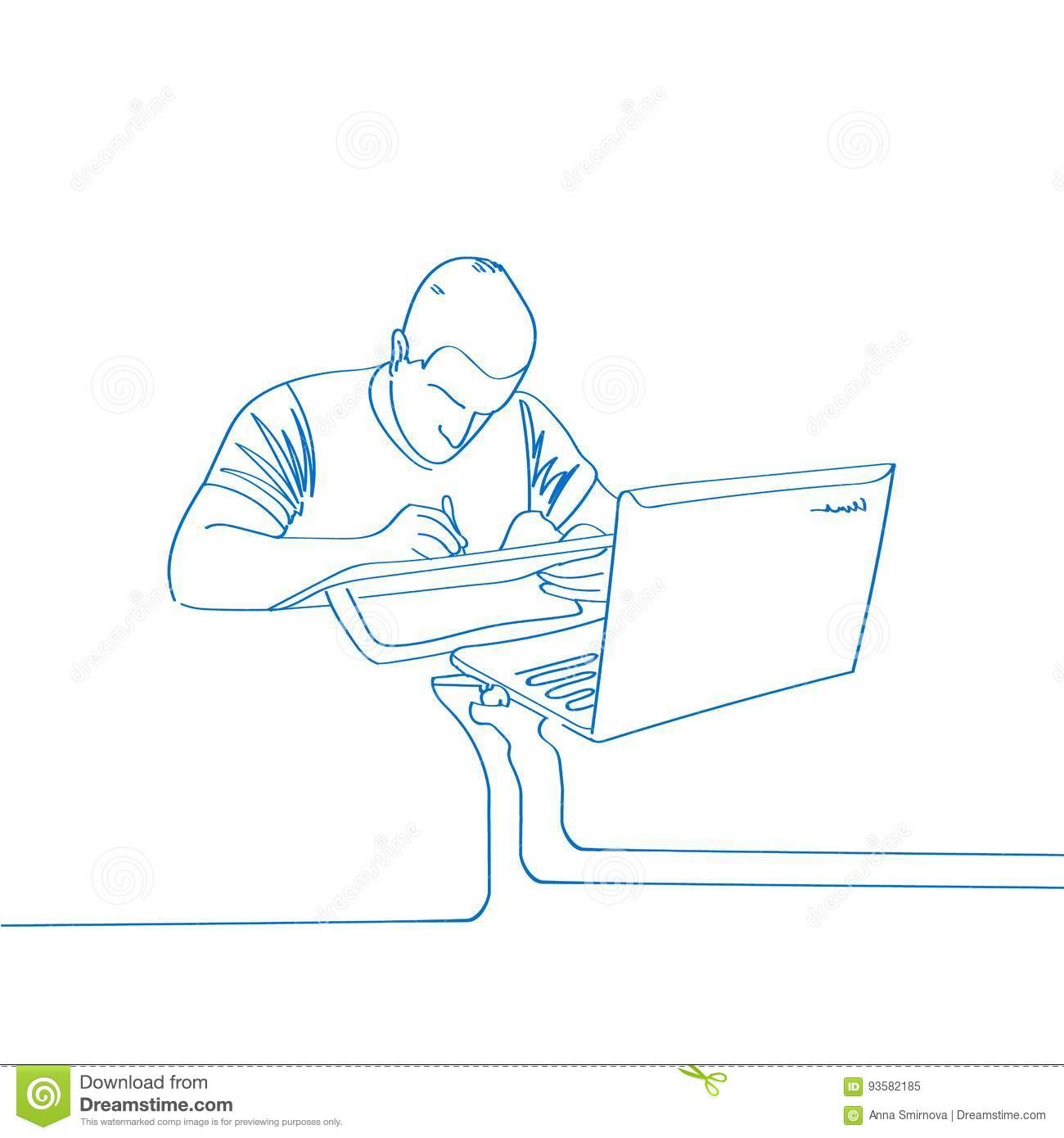 Vector Illustration Of Hand Drawn Man Draw On Laptop Office Work