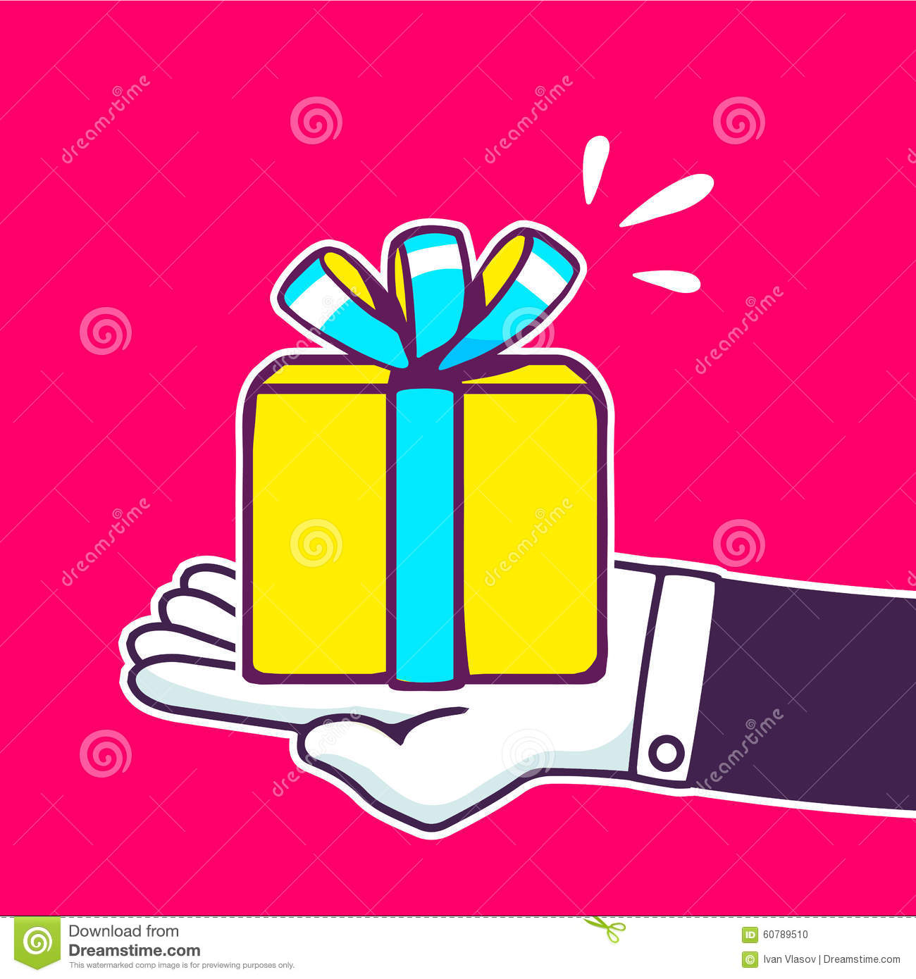 Vector Illustration Of Hand Holding Yellow Gift Box Stock Vector