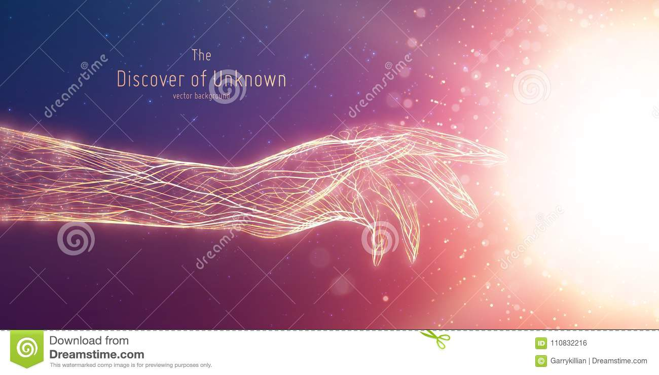Vector illustration of hand touch glowing sphere. Concept of discovery of unknown, shining knowledge. Digital cyber