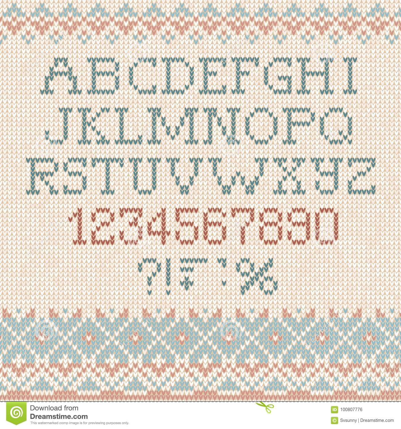 Handmade Knitted Abstract Background Pattern Font Alphabet Abc