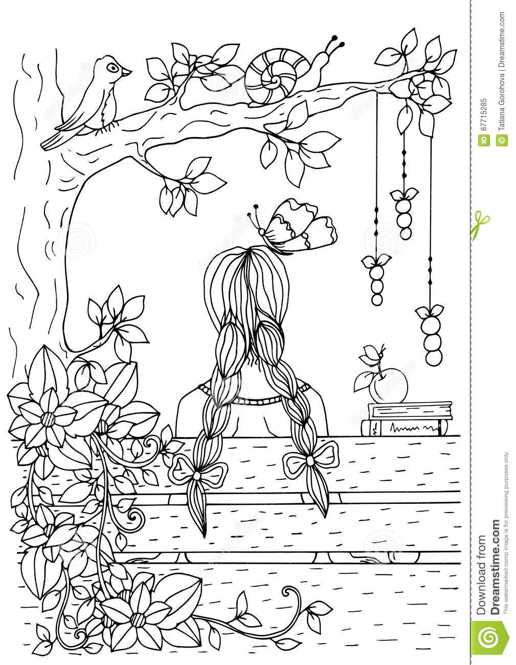 Vector Illustration Of Handmade Work Zentangl Girl Sitting On The Bench Doodle Drawing Coloring Page Anti Stress For