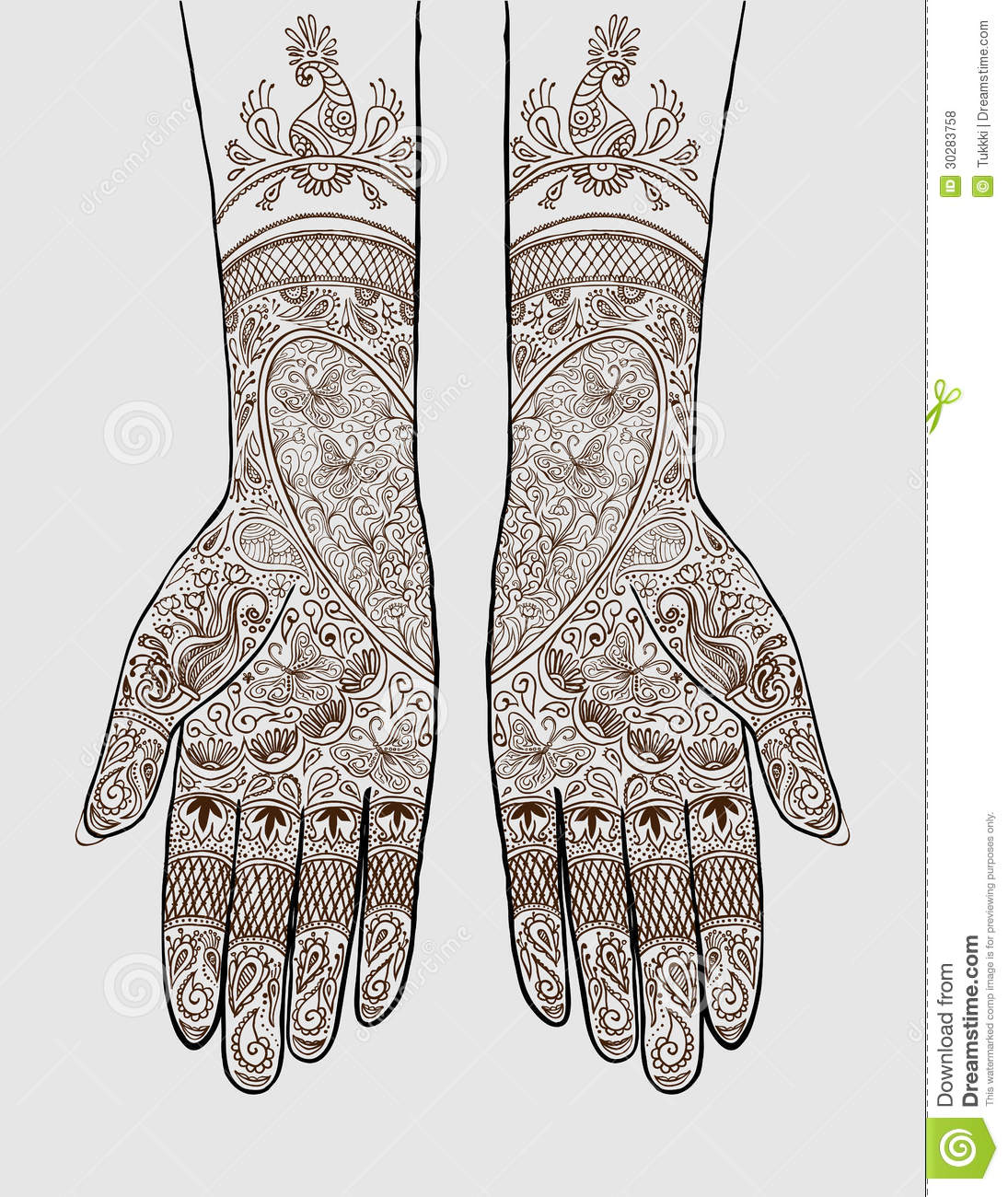 Vector illustration of hands with henna tattoos on them. Concept for ...
