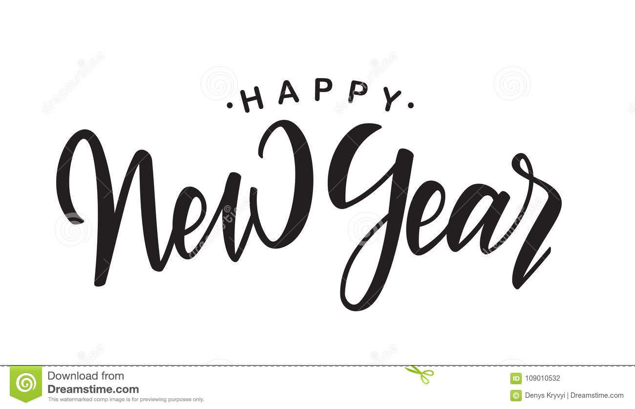 handwritten elegant brush lettering of happy new year on white background