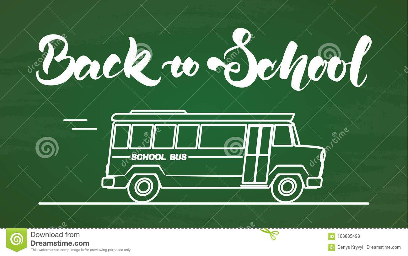 Handwritten Lettering Of Back To School With Bus On Chalkboard