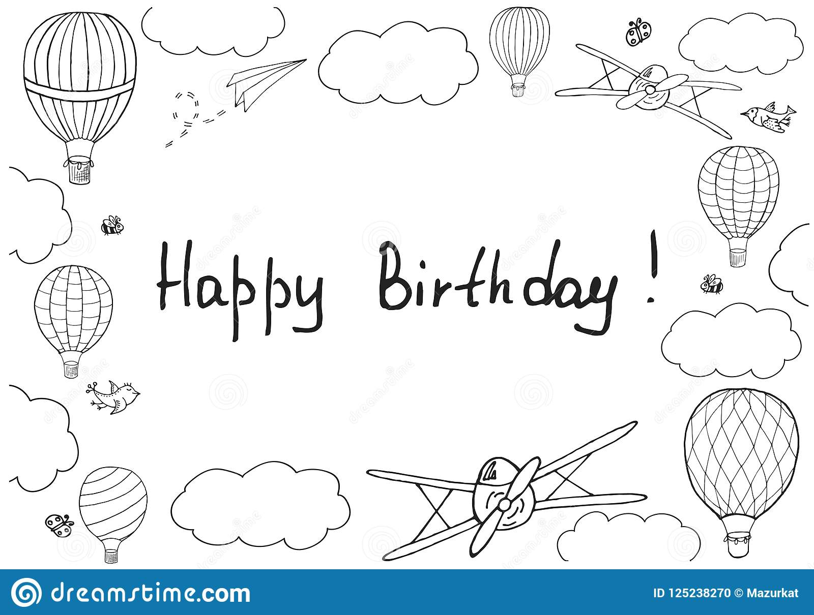 vector illustration handwritten words happy birthday stock vector