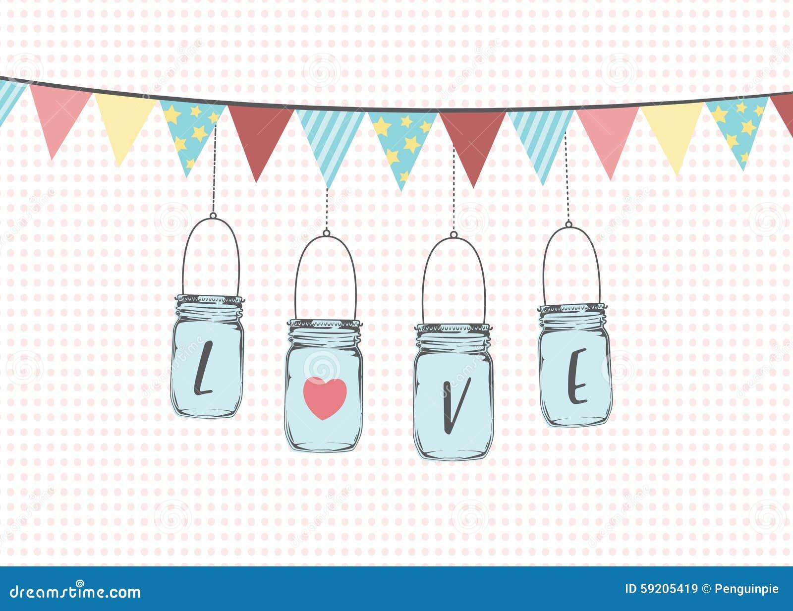 Vector Illustration Of Hanging Mason Jars