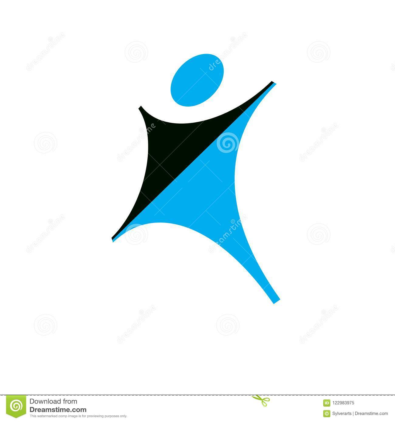 Vector Illustration Of Happy Abstract Individual With Raised Han