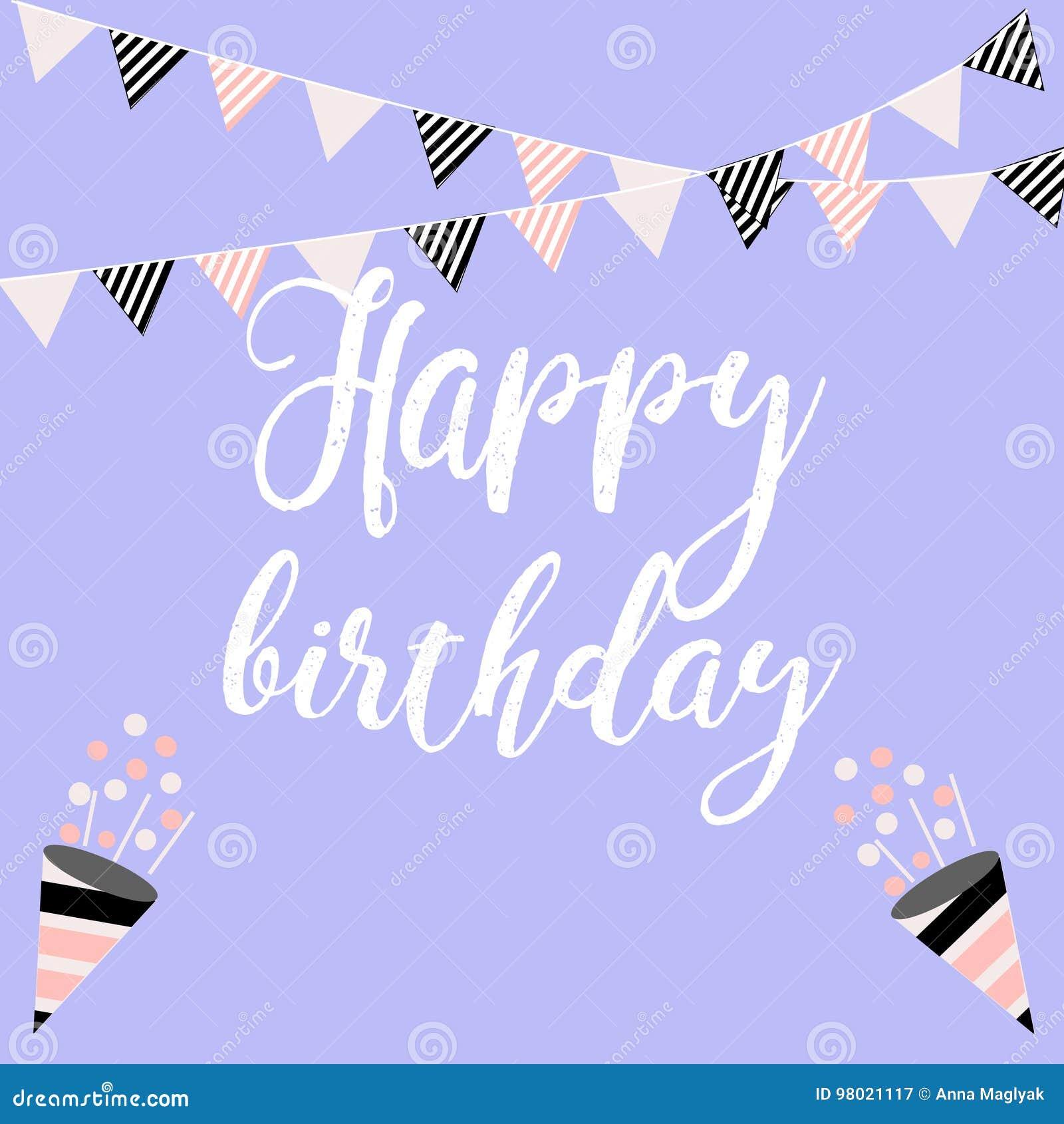 Vector Illustration Happy Birthday On White Background Typography