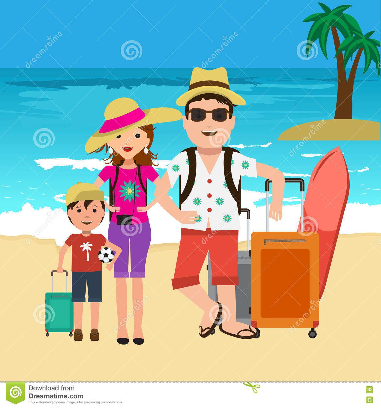 Family Pictures In The Beach: Vector Illustration Of Happy Family Going On Vacation