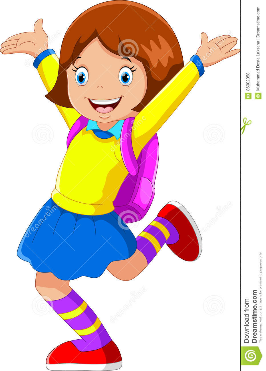 Vector Illustration Of Happy Girl With Backpack Going To ...