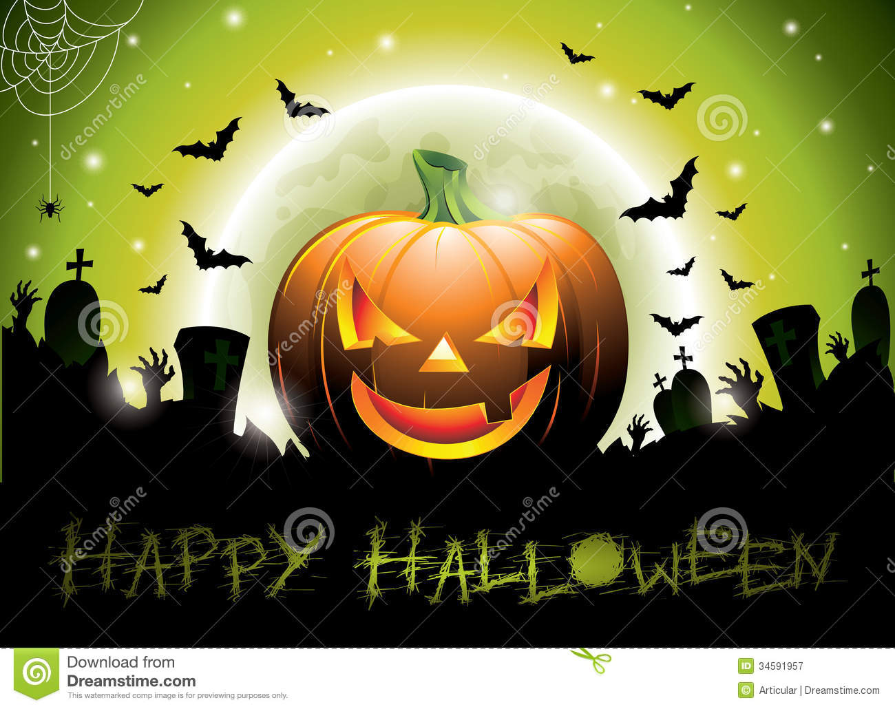 Vector Illustration On A Happy Halloween Theme Wit Stock