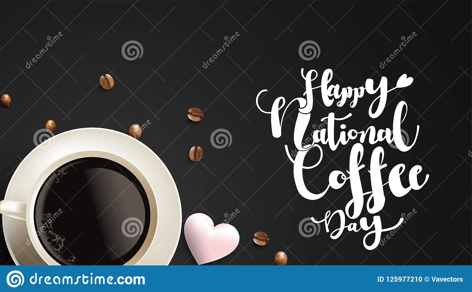 Vector Illustration Of Happy International Or National Coffee Day
