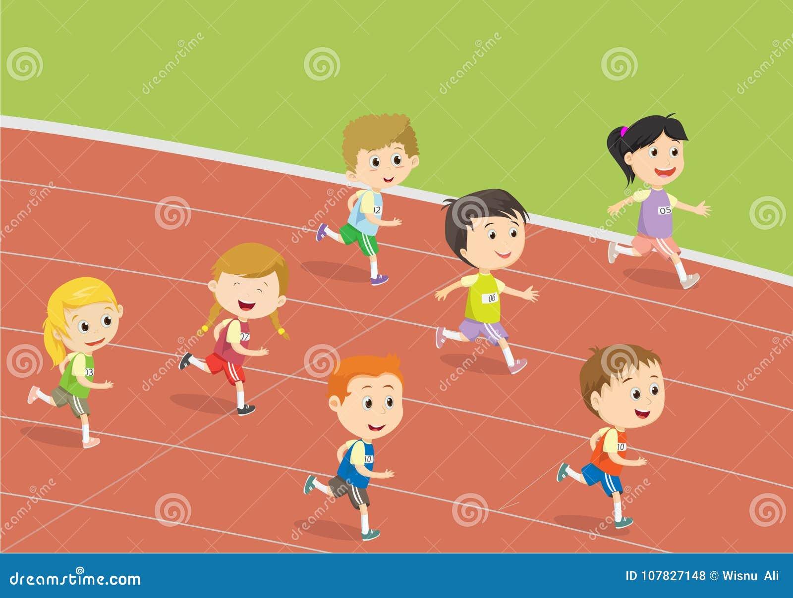 Happy Kids Running On The Track Of Stadium Editorial Stock Photo
