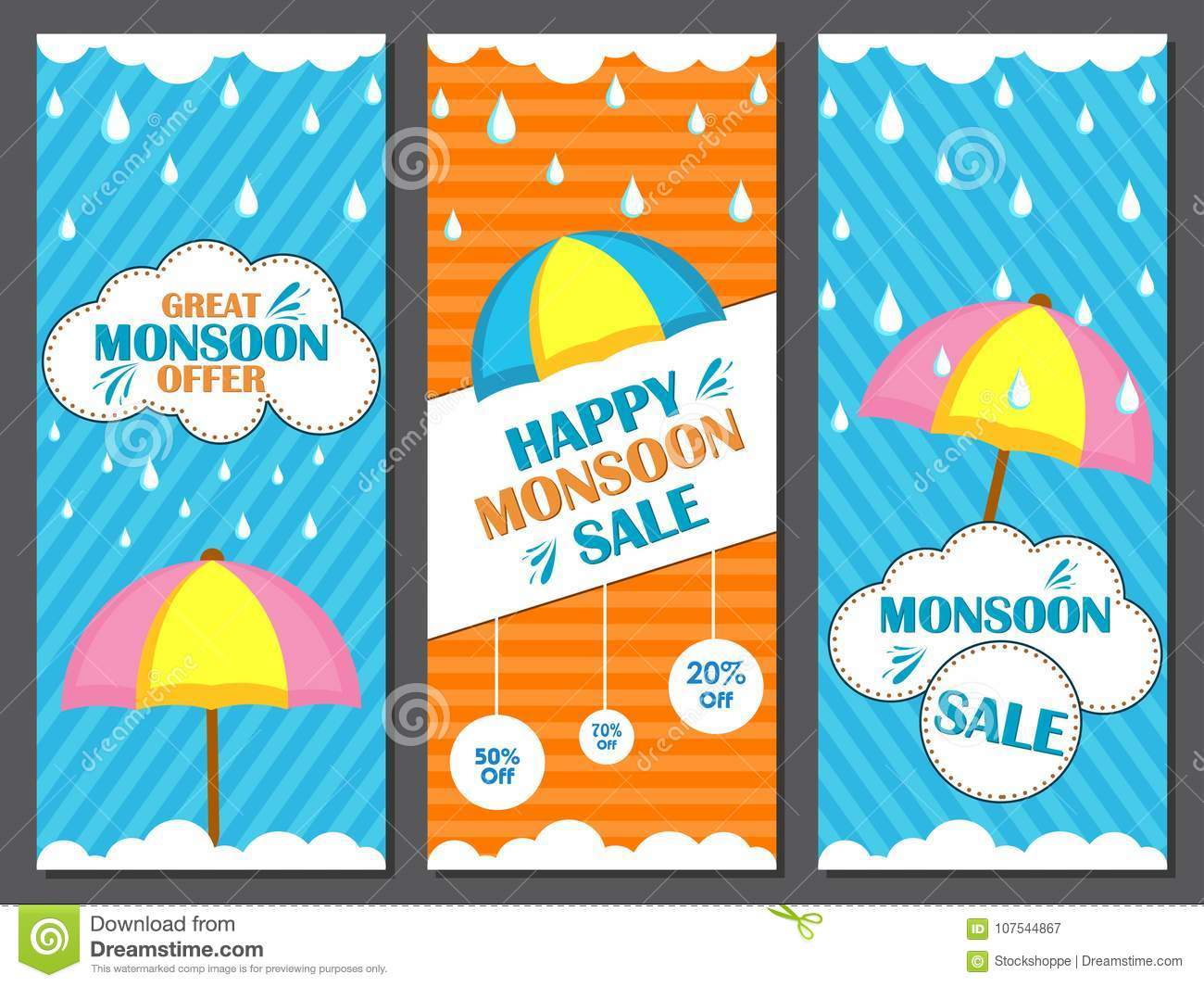 happy monsoon sale offer promotional and advertisment banner stock