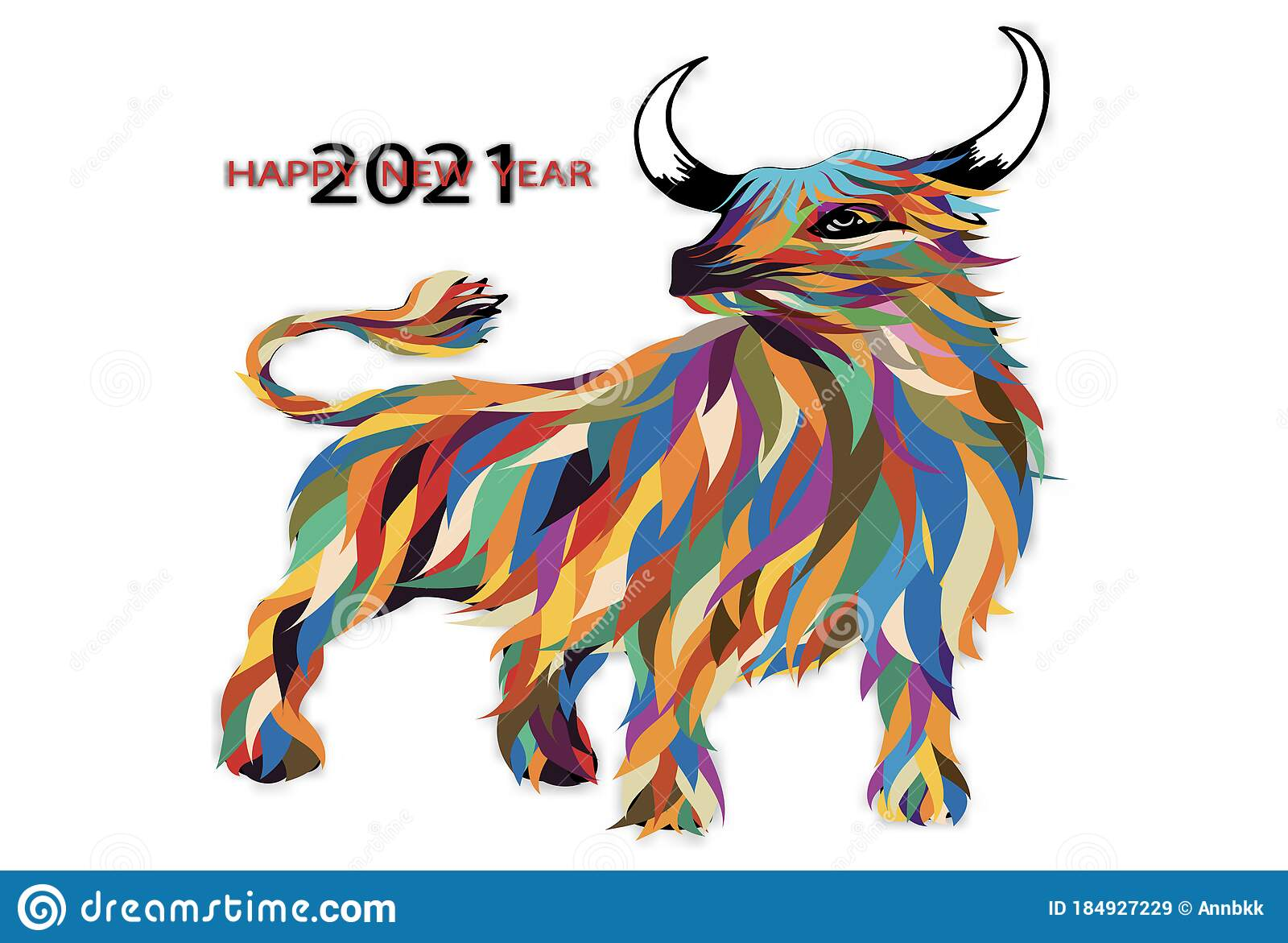 Vector Illustration Happy New Year 2021 With Colorful ...