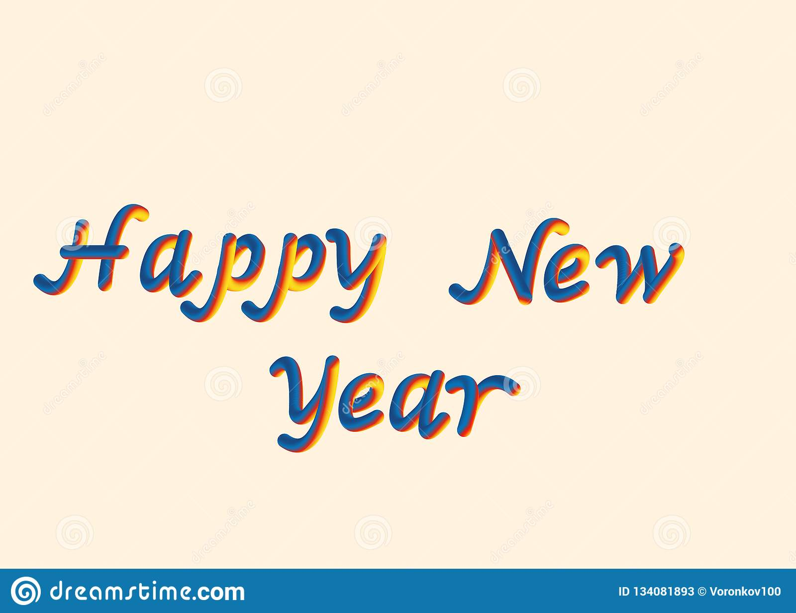 Vector illustration of happy New year font with letters. 3D lettering style rendering bubble font. Color blue yellow red.