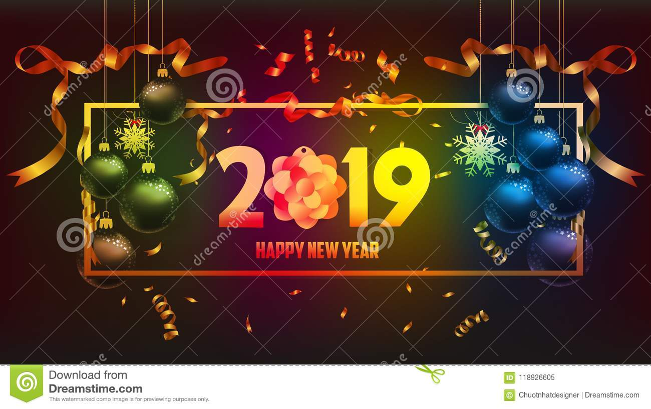 Vector illustration of happy new year 2019 gold and black colors place for text christmas balls - New years colors 2019 ...