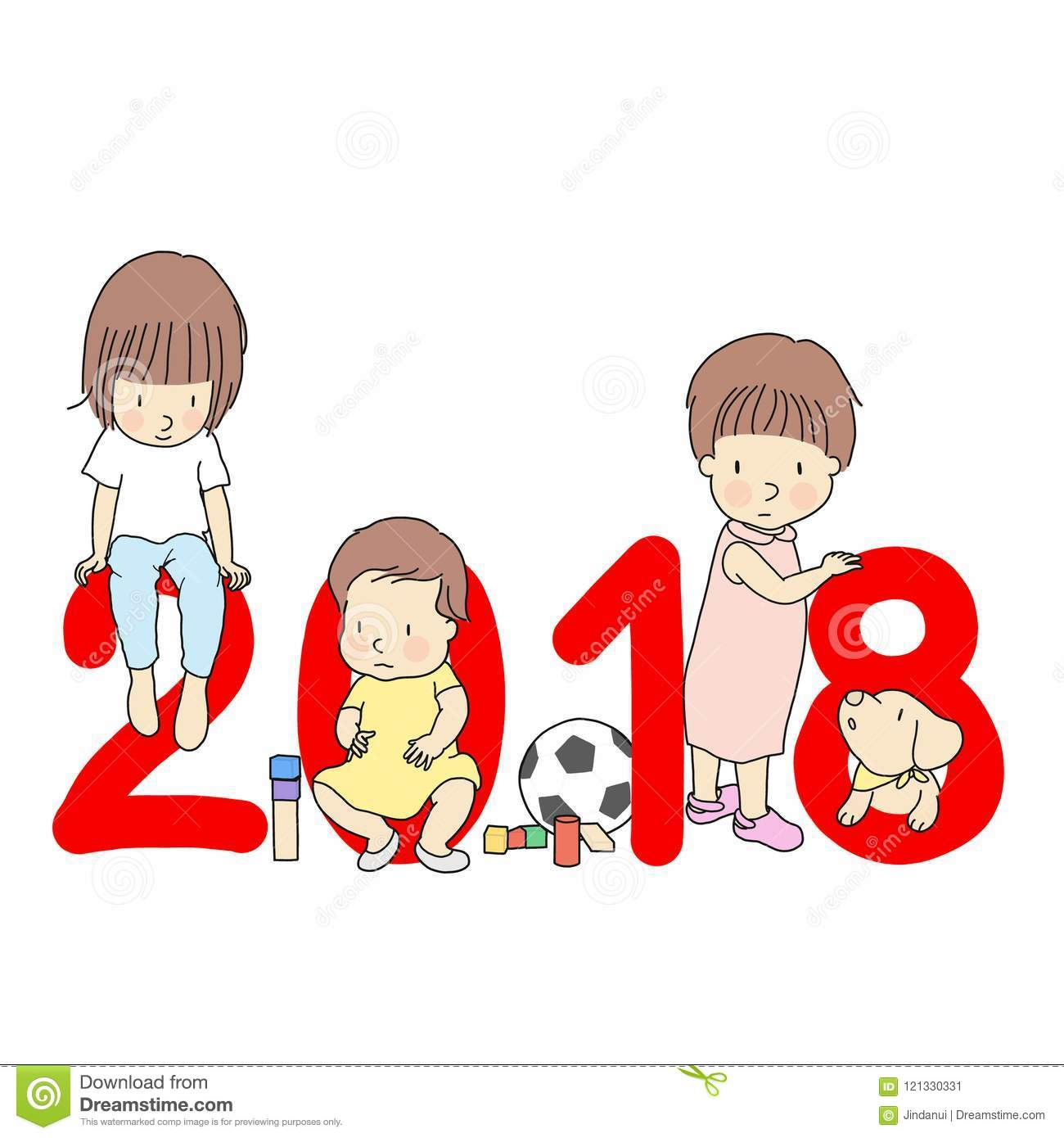 vector illustration of 2018 happy new year greeting card design little kids with red number