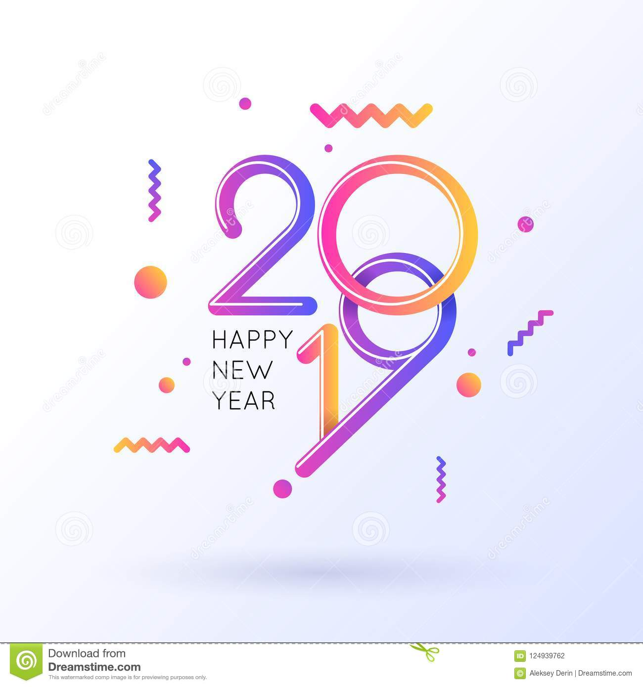 Vector Illustration Of A Happy New Year Poster 2019. Stock Vector ...