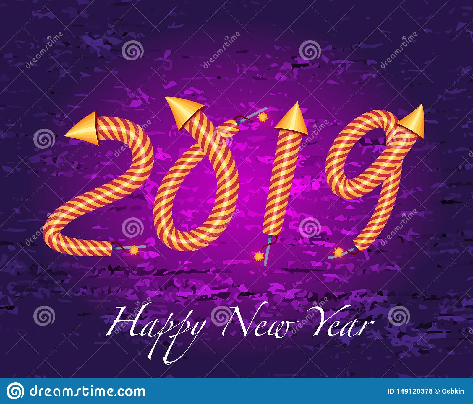 2019  happy new year with rocket fireworks effect