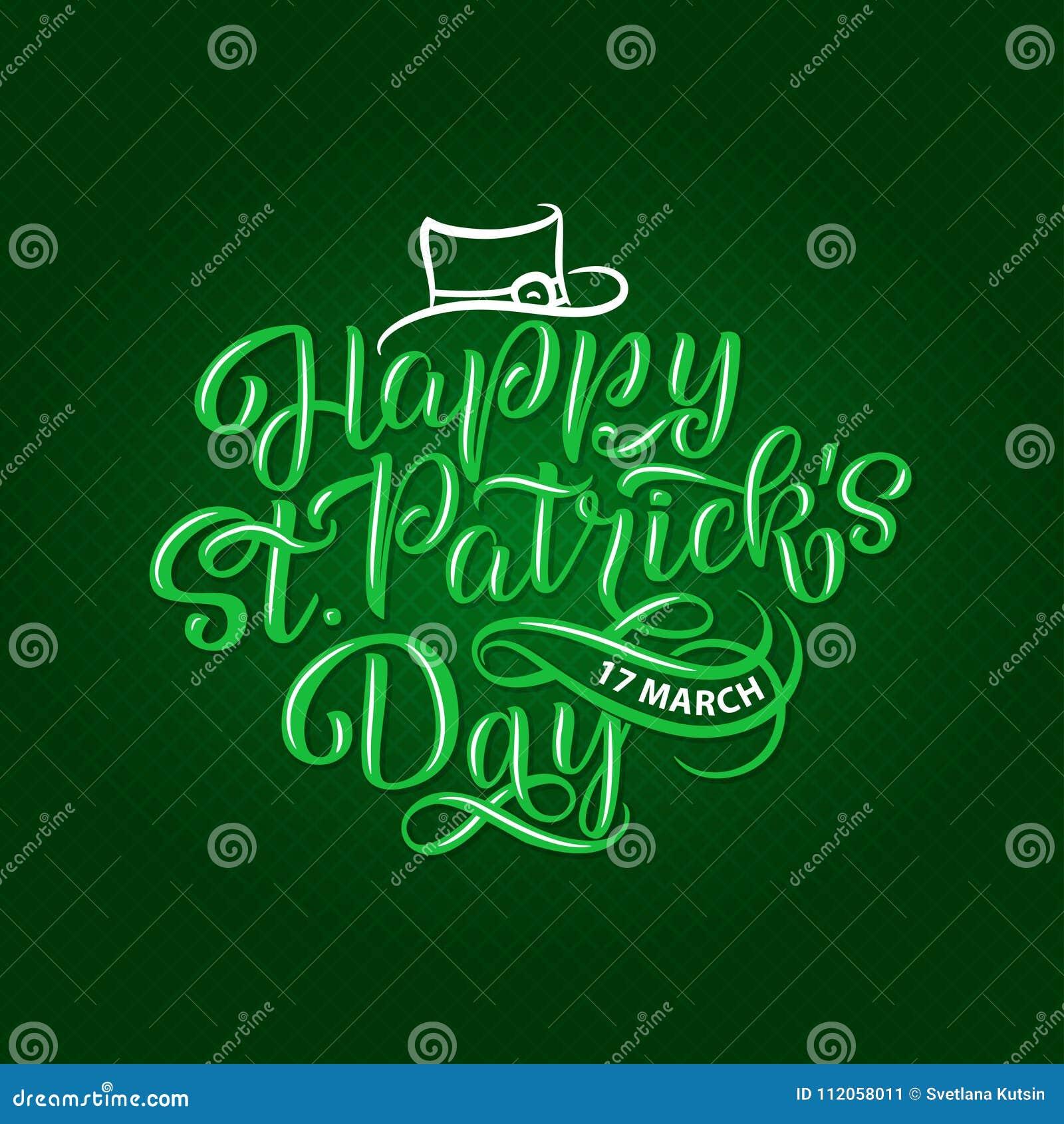 Vector Illustration Of Happy Saint Patrick S Day Logotype Hand