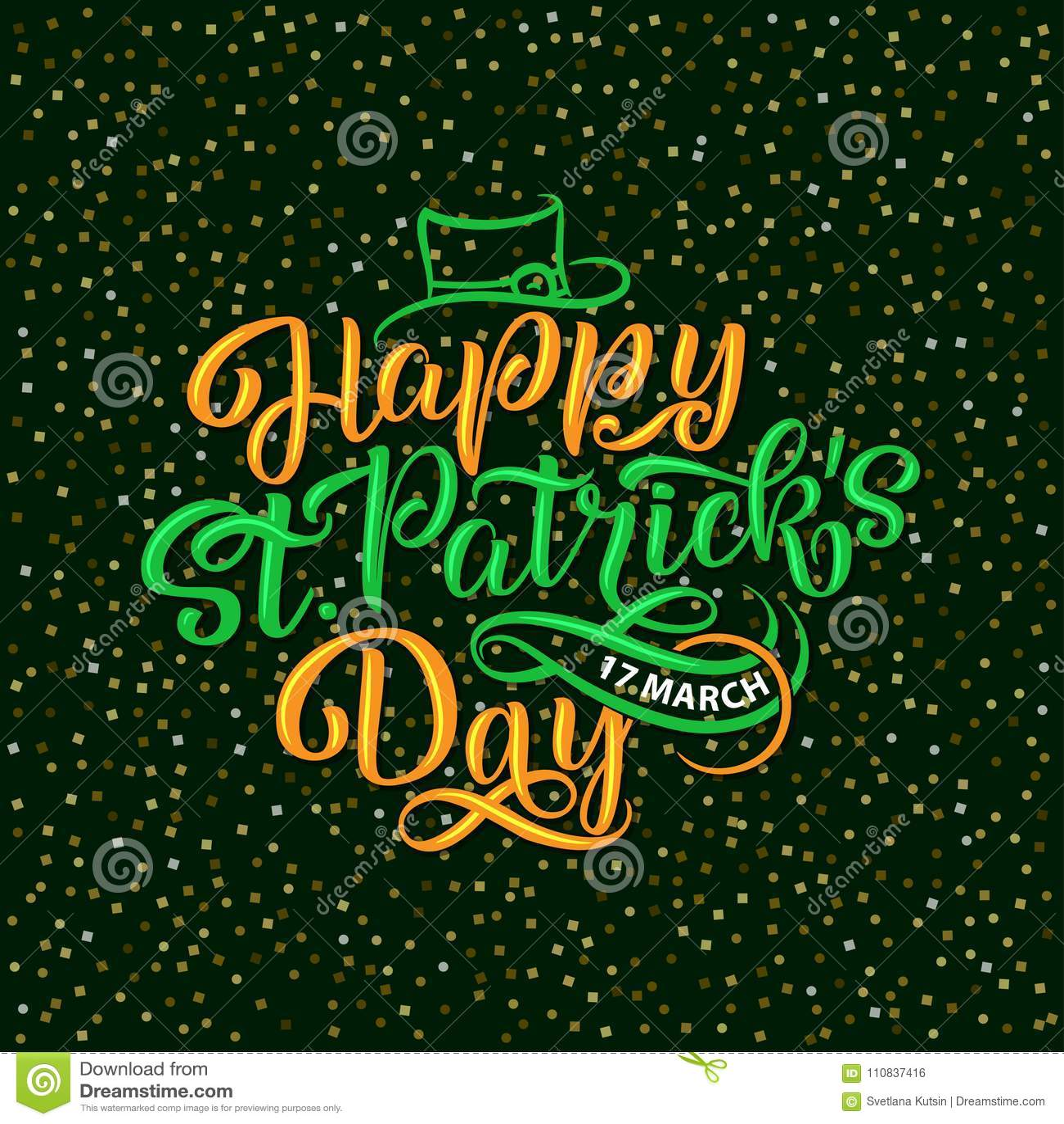 Vector Illustration Of Happy Saint Patrick S Day Logotype Hand Sketched Irish Celebration Design