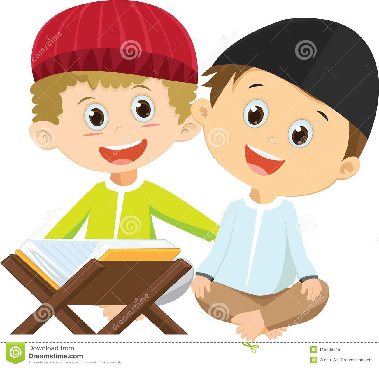 Happy two Muslim boys reading Quran together