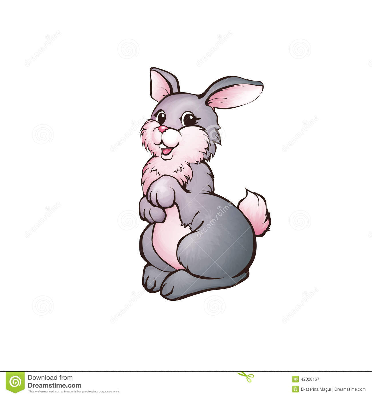Vector Illustration Of Hare In Cartoon Style On Transparent Background
