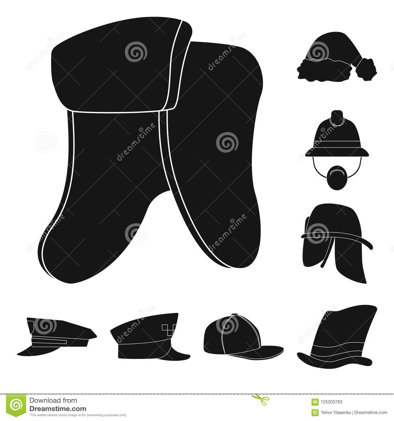 b5f91fccd44 Vector illustration of headwear and cap sign. Set of headwear and accessory vector  icon for stock.