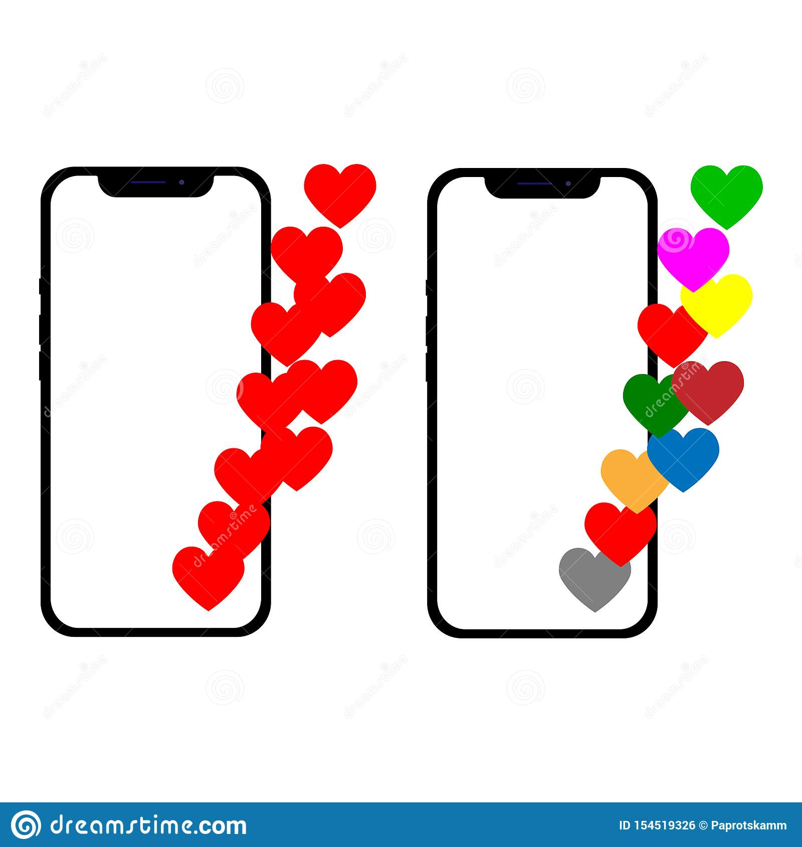 Vector illustration with a heart, emoji a message on the screen. Social network and mobile device concept. Graphic for
