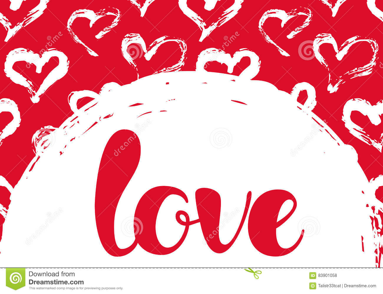 Vector Illustration With Hearts And LOVE Lettering Stock ...