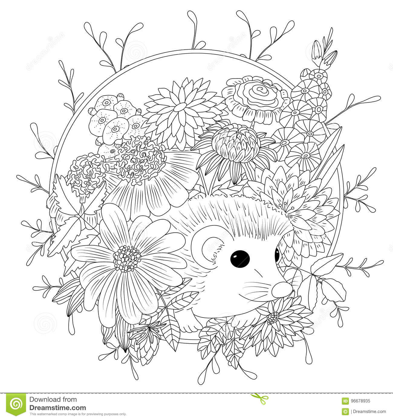 Vector Illustration Hedgehog With Flowers Coloring Book Anti Stress