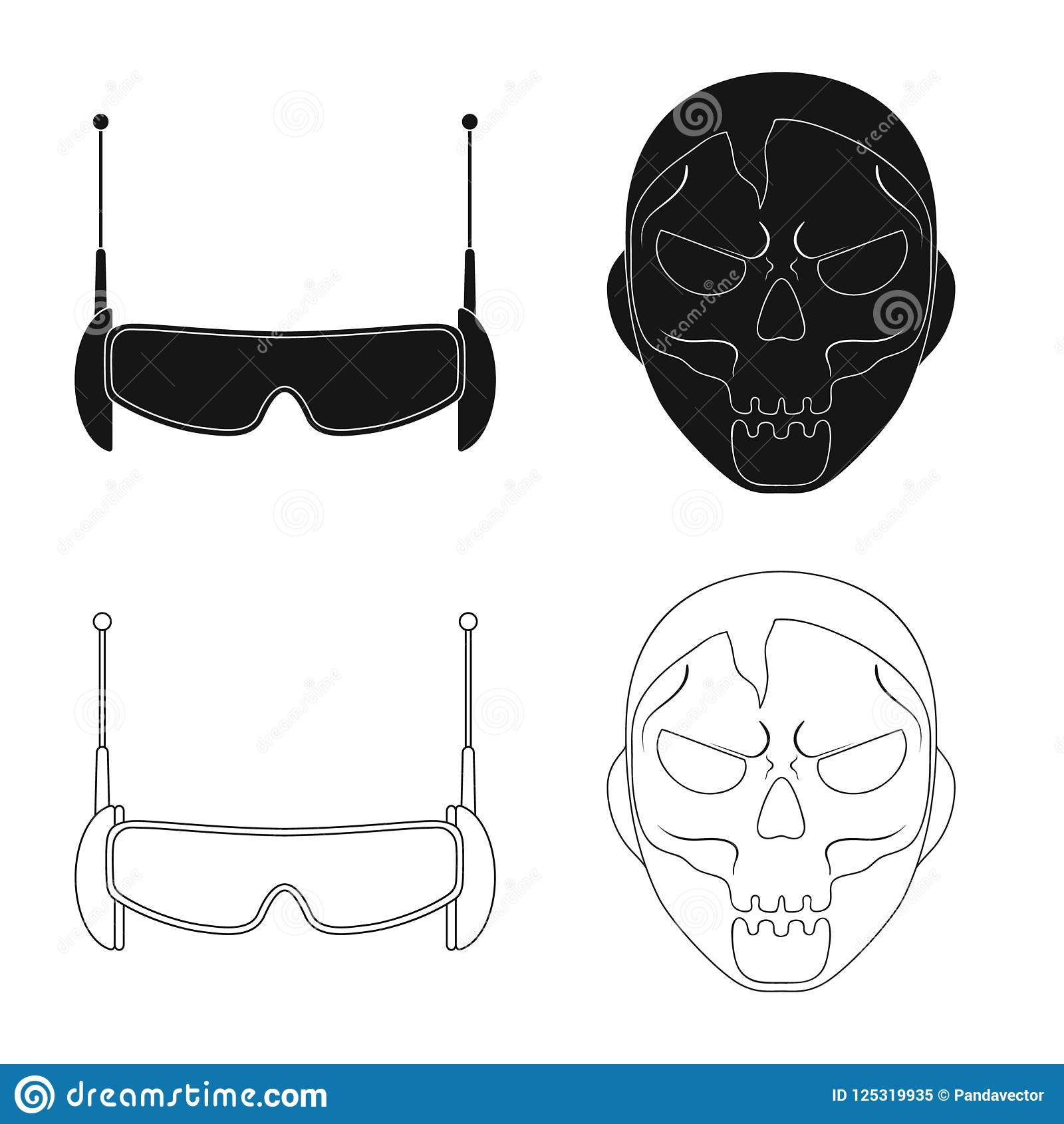 Vector Illustration Of Hero And Mask Sign Collection Of Hero And