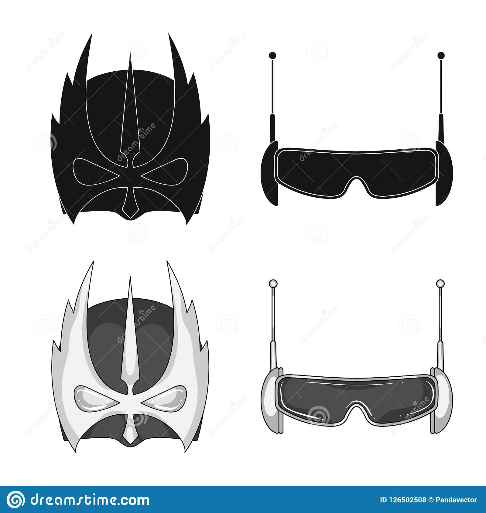Vector Illustration Of Hero And Mask Sign Set Of Hero And Superhero