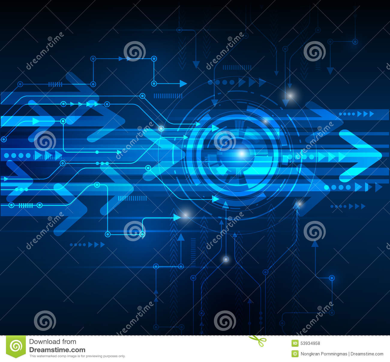 Vector Illustration Hi-tech Blue Abstract Technology Background Stock Vector