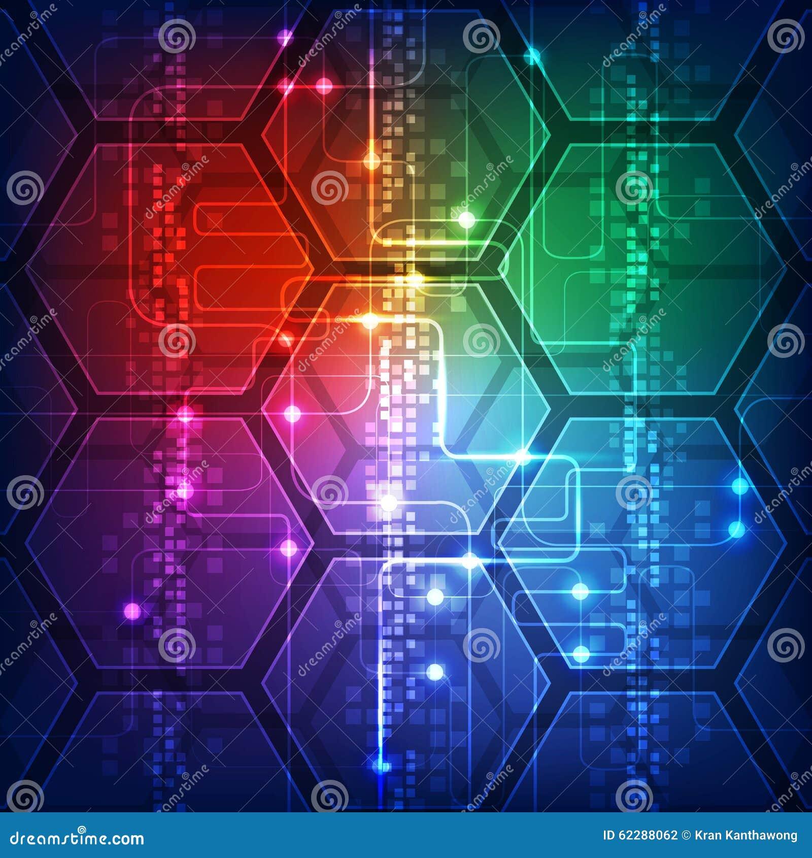 Vector Illustration Hi-tech Digital Technology Concept  Abstract Background Stock Vector