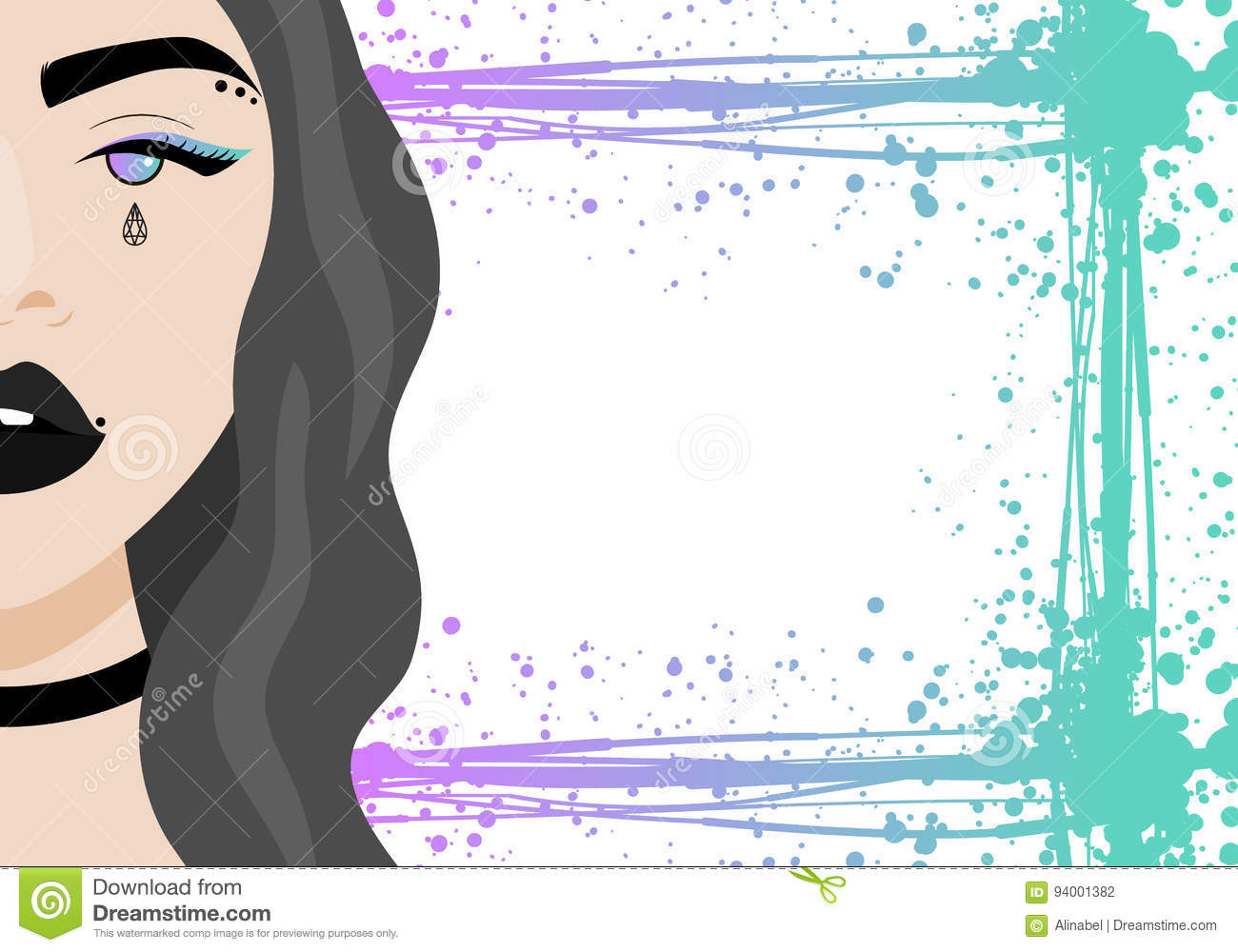 Vector Illustration With Hipster Girl With Piercing Tattoo