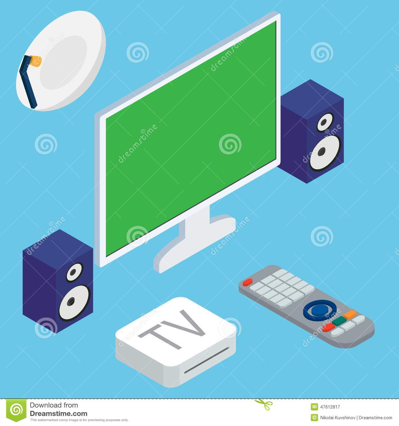 Vector Illustration Of Home Theater System With TV Stock Vector ...