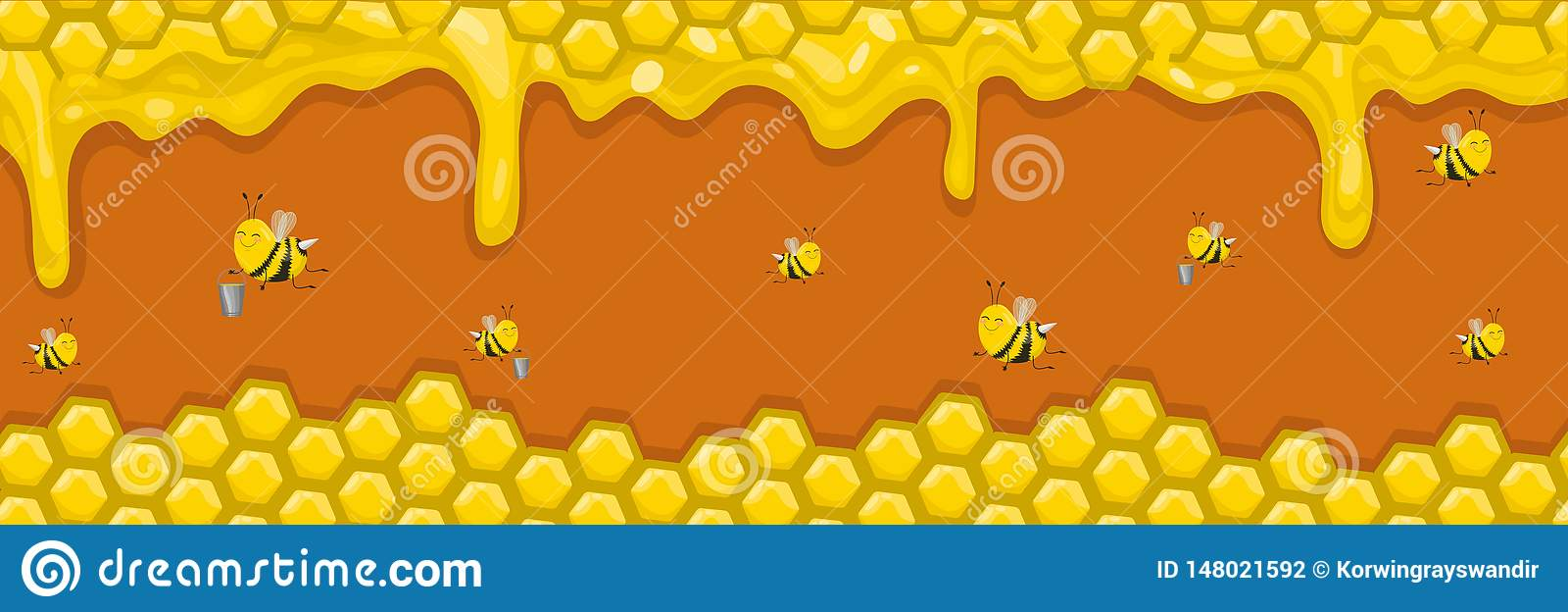 Horizontal banner with honeycombs, honey and bees. Bees carry honey in buckets. Vector illustration